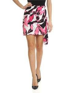 Pinko Uniqueness - Swing mini skirt in white and pink