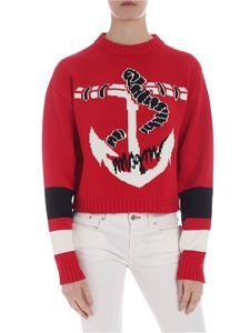 MSGM - Red crop pullover with anchor inlay