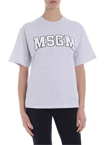MSGM - Gray melange t-shirt with college logo print