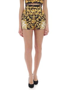 Versace - Yellow and black shorts with Baroque print