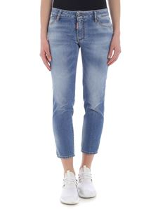 Dsquared2 - 5 pocket blue jeans with red logo on the back