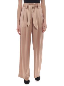 Tory Burch - Palazzo high-waisted trousers in powder pink satin