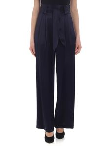 Tory Burch - High-rise palazzo trousers in blue satin