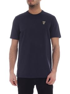 Versace Collection - Blue crew neck t-shirt with Medusa