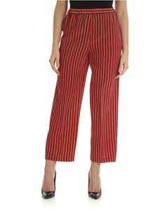 Aspesi - Trousers in pure red, green and black silk