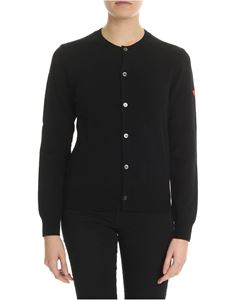 Comme des Garçons Play  - Black wool cardigan with red heart
