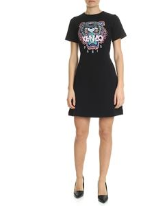Kenzo - Short black dress with Tiger embroidery