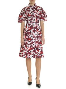 Kenzo - Belted white and red shirting dress