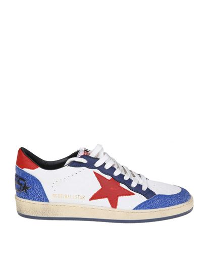Golden Goose - White and blue Ball Star sneakers