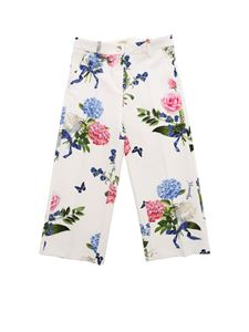 Monnalisa - White floral printed cady trousers