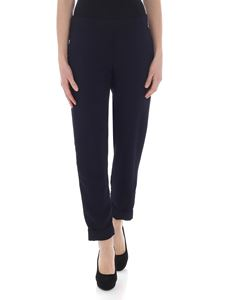Parosh - Dark blue trousers with turn-ups