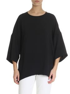 Parosh - Boxy top in black cady fabric
