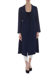 Parosh - Blue overcoat in cady fabric