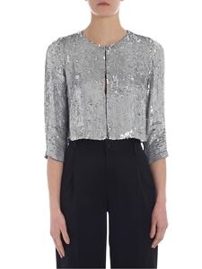 Parosh - Cropped jacket in silver sequins