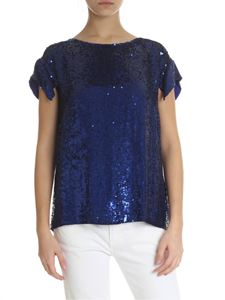 Parosh - Blue sequin top with cut-out