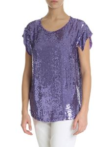 Parosh - Purple sequin top with cut-out