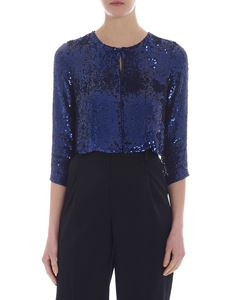 Parosh - Cropped jacket in blue sequins