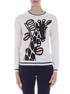Parosh - White pullover with giraffe inlay