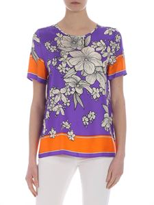 Parosh - Purple floral printed top in pure silk