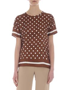 Parosh - Brown polka dot silk top