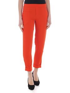 Parosh - Orange trousers with cady fabric turn-up