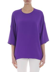Parosh - Purple boxy top in cady fabric