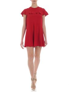Red Valentino - Red crepe dress with ruffles