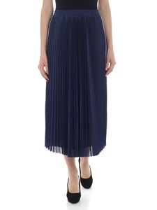 Red Valentino - Pierced blue pleated skirt