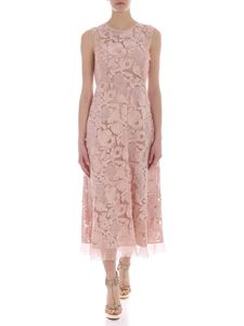 Red Valentino - Long pink dress with floral embroidery