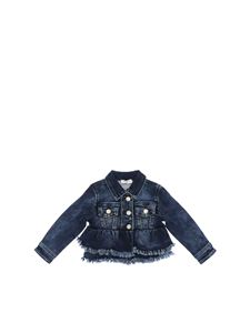 Monnalisa - Blue denim jacket with flounces