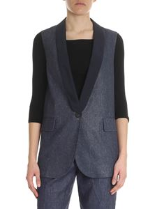 Peserico - Cotton and linen blue waistcoat
