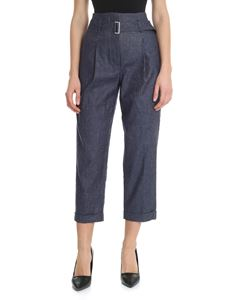 Peserico - Blue denim effect trousers with lamé thread