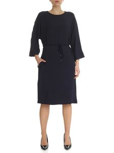 Peserico - Blue crew-neck dress with lamé neckline