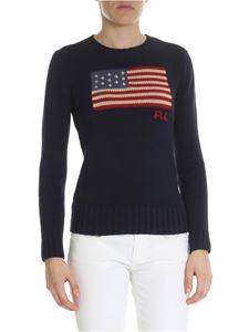 POLO Ralph Lauren - Blue sweater with American flag intarsia