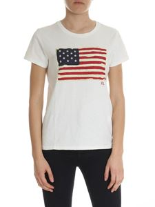 POLO Ralph Lauren - Ivory T-shirt with American flag patch