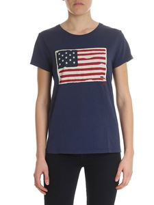 POLO Ralph Lauren - Blue T-shirt with American flag patch