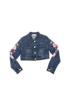 Monnalisa - Blue denim jacket with embroideries