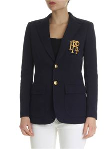 POLO Ralph Lauren - Blue two buttons jacket with golden logo embroidery