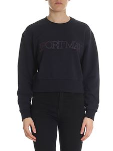 Sportmax - Blue cropped sweatshirt with logo print