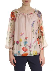 Blumarine - Off-shoulders blouse with pink floral print