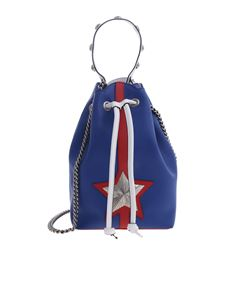 Les Jeunes Etoiles - Bucket bag in blue leather with shoulder strap