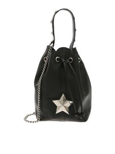 Les Jeunes Etoiles - Bucket bag in black leather with shoulder strap