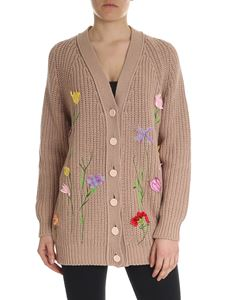 Blumarine - Beige knitted cardigan with floral embroidery