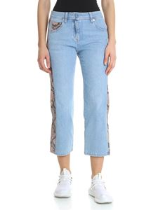 Blumarine - Blue cropped jeans with leather details