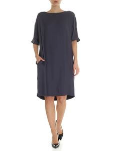 Fabiana Filippi - Anthracite color dress with boat neckline and beads