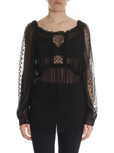 Alberta Ferretti - Black transparent silk blouse