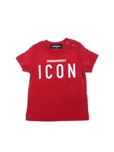 Dsquared2 - T-shirt rossa stampa Dsquared2 Icon bianca