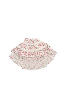 Monnalisa - White flared skirt with floral print