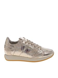 Philippe Model - Monaco sneakers in golden crackle leather
