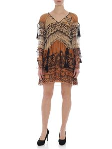 Alberta Ferretti - Brown chiffon dress with tassels